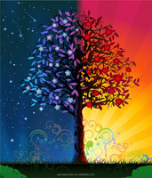 star and red fruits tree multicolored design wall murals for bedrooms