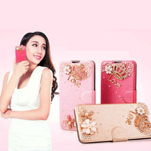 2014 New Products Wholesale Ice Silk Pattern Cheap Fashionable Rhinestone Leather Case for Samsung Galaxy Note3 Neo N7505