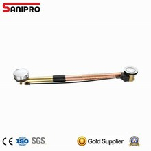 Brass bath tub cable operated drain with flexible pipe