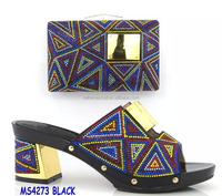 MS4273 black high quality shoes black shoes matching bags colorful design shoes high heel