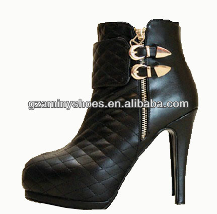 2013 China quilted genuine leather bootie