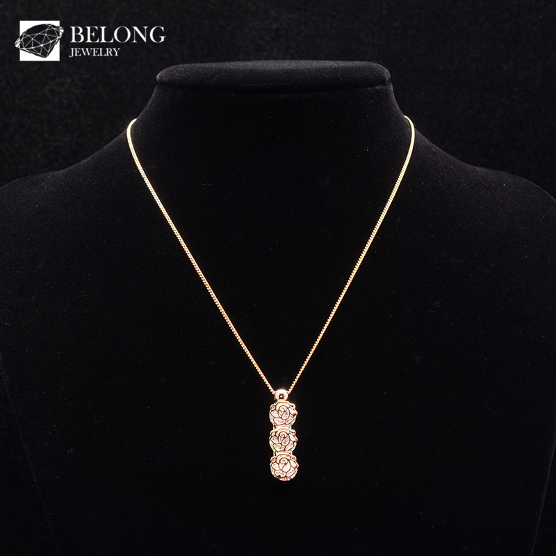 BLN0501 stone jewelry gold plated rose flower shape cubic zirconia pendant necklace