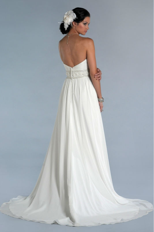 WD1456 latest off shoulder beaded high waistline cheap white chiffon free flowing very sexy backless beach wedding dress