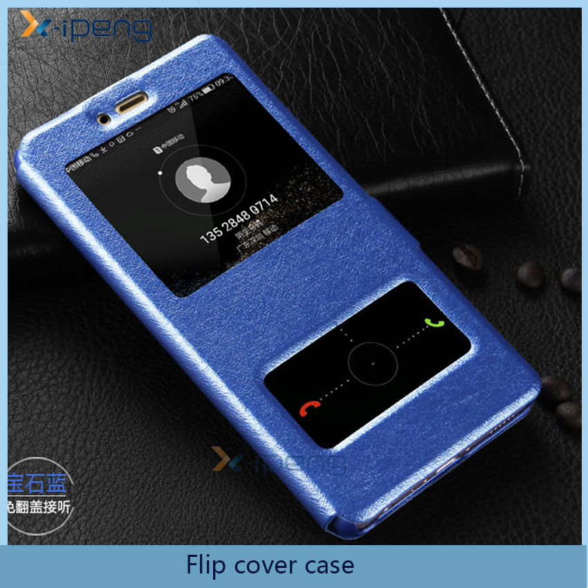 Smart front two view window PU Leather flip cell phone flip cover bookstyle case for huawei P10