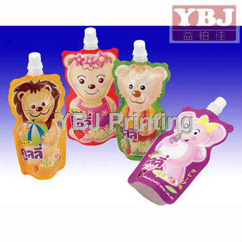Children food packaging pouch biodegradable bottle shaped pouch China cheap juice pouch manufacturers