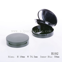 Round cosmetic compact container wholesale plastic powder case empty two layers powder compact container