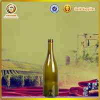 750ml corked yellow glass wine bottle