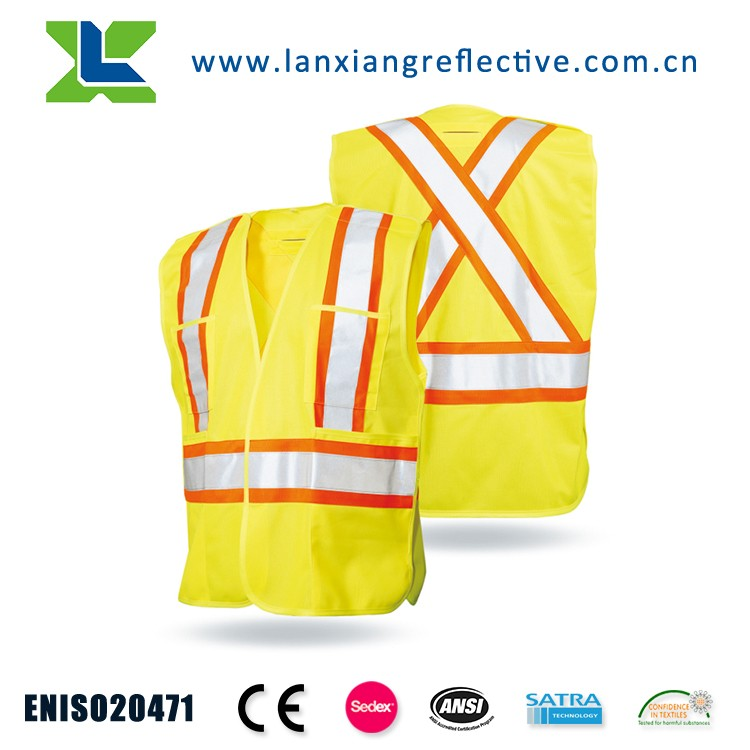 LX632 High Visibility motorcycle polar fleece reflective safety vest