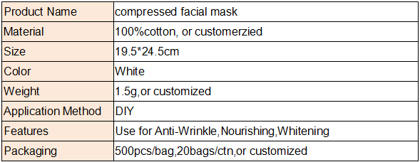 New Product Face Cotton Compressed Facial Mask Paper Compression Mask