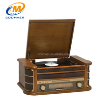 antique radio hifi bluetooth vinyl turntable gramophone cassette records player with cd recorder