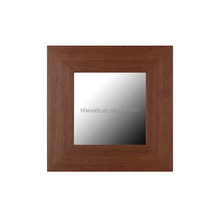 Pine wood with brown finished decorative wood mirror frame for hotel bathroom