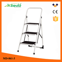 moving wheels Wholesale elegant household step ladder cheap steel welded ladder with plastic step(MD-861-3)
