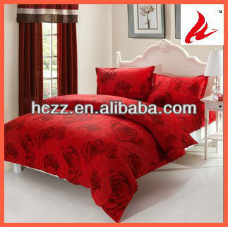 Red Flower Printing Bedding Set 4pcs