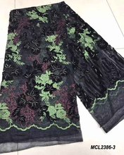 Border velvet embroidered tulle lace fabric for curtains african flowers very soft high quality 5 yards