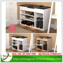 simple modern design wooden shoe rack bench with cushion seat