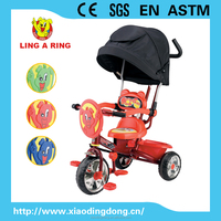 2015 NEW Children tricycle with luxury canopy and push bar and siliver wheels