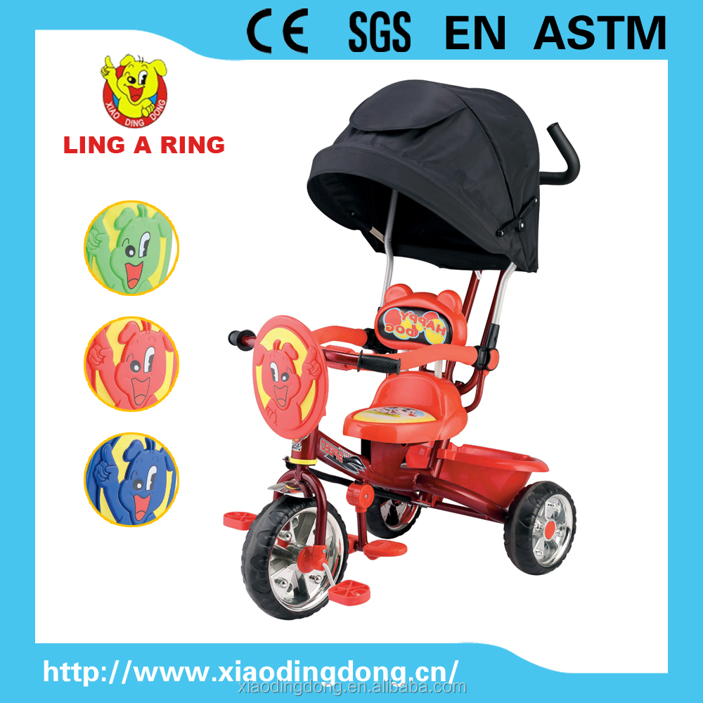 NEW Children tricycle with luxury canopy and push bar and silver wheels