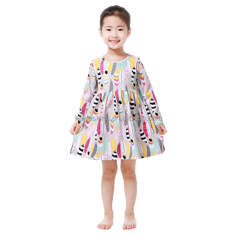 children's boutique print fall long sleeve plain frock baby girls one pieces cotton frock