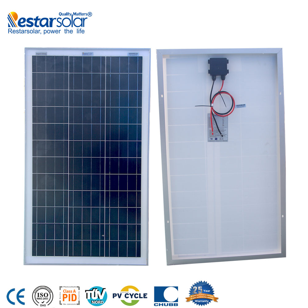 Restar high quality <strong>poly</strong> 60w solar panel price --factory directly sales