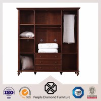 Latest design bedroom wooded wardrobe with cabinet