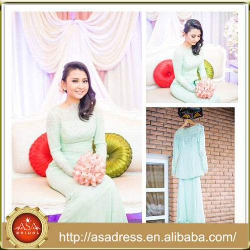 MSL140 lace Appliqued chiffon Long Sleeve Mermaid Mint Green Islamic wedding dress