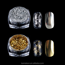 Gold Silver Glitter Aluminum Flakes Magic Mirror Effect Powders Sequins Nail Gel Polish Chrome Pigment Decorations