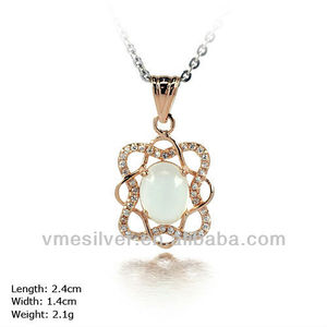 PXH-0987 high end jewelry 925 Sterling Silver Flower Pendent With CZ Stone & Opal Gift For Girls