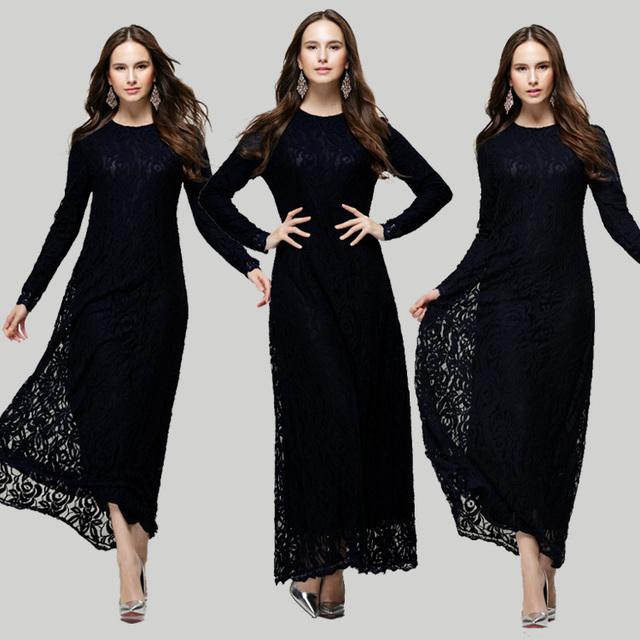 New Arrival Women Abaya Islamic Maxi Dress Lace Party Dress 2018