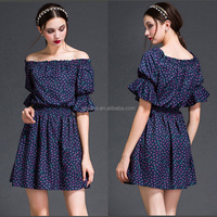 2016 latest design puff short sleeve summer dress fashion boat neck sexy casual ladies dresses