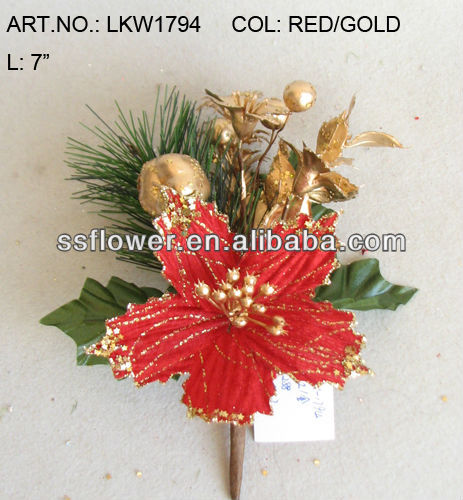 "2014 New Artificial Christmas Red Poinsettia Pick 7"" Artificial Polyfoam With Berries and Pineneedle Pick"