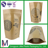 stand up zipper bag snack packaging plastic craft kraft paper bag for food