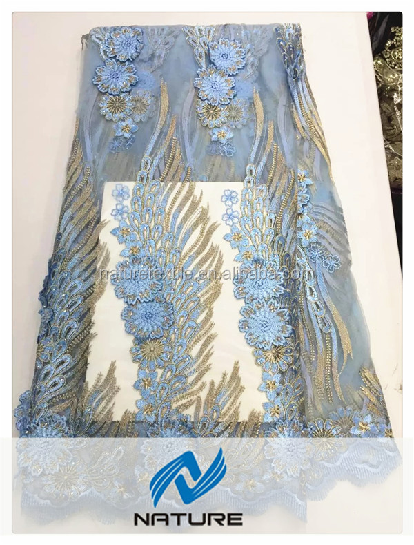 2017 New Blue 3D flower embroidery net lace fabric for wedding dress