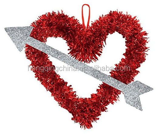Valentine Tinsel Heart with Silver Arrow Hanging Decoration-13.5in