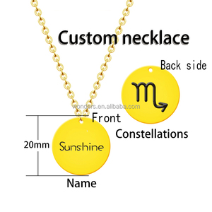 MOQ 1 Piece Personalized Custom Logo Tag Two Sides Name Necklace Jewelry