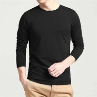High Quality Cotton T Shirts Long Sleeve Round Neck Male T-shirt Wholesale Blank T-shirt