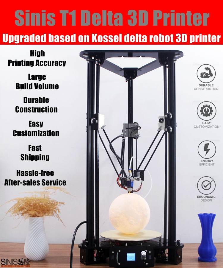 New arrival 3d printer in Shenzhen factory cheap 3d printer price kossel detal 3d printer diy kit with large printing size