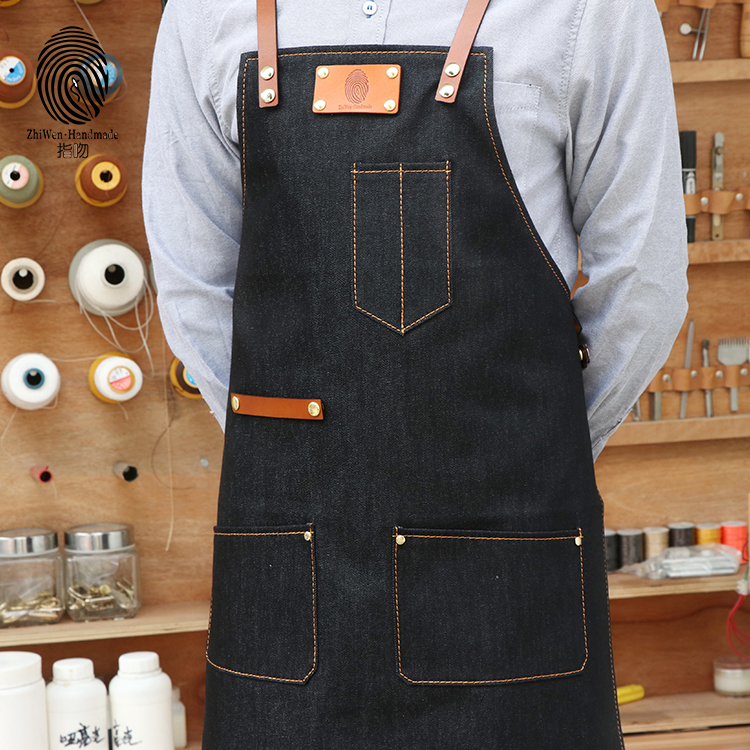 2018 Custom Made Denim chef cooking apron , kitchen apron