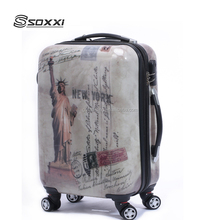 hot selling abs pc printing trolley suitcase travel bag hard shell luggage