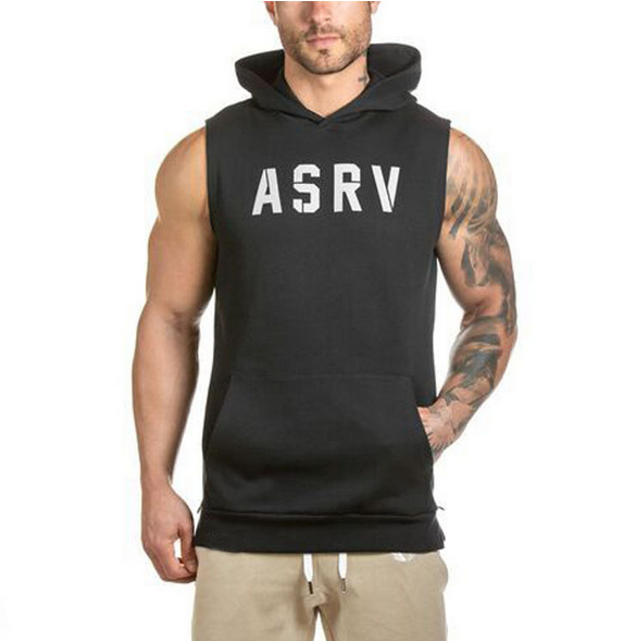 Wholesale Mens Cotton Sleeveless Pullover Gym Hoodies