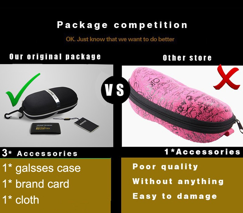2016 HDCRAFTER Fashion Sunglasses Case Eyeglass Cases For Sun Glasses Box Black Without Glasses