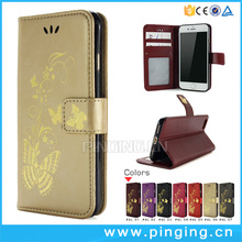 Gilding Butterfly Pattern Photo Wallet Cards Magnetic Stand Flip Wallet Case For Alcatel Pixi 4 Plus Power