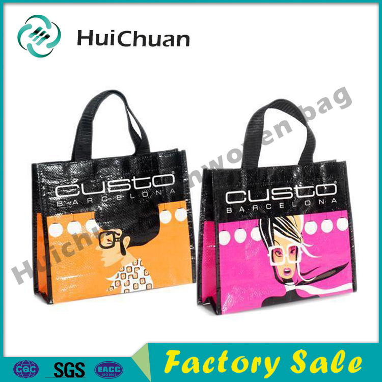 Fashion recycled PP woven laminated lady tote bag