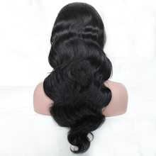 Top quality brazilian virgin human hair half wig natural wave long hair wig for black women