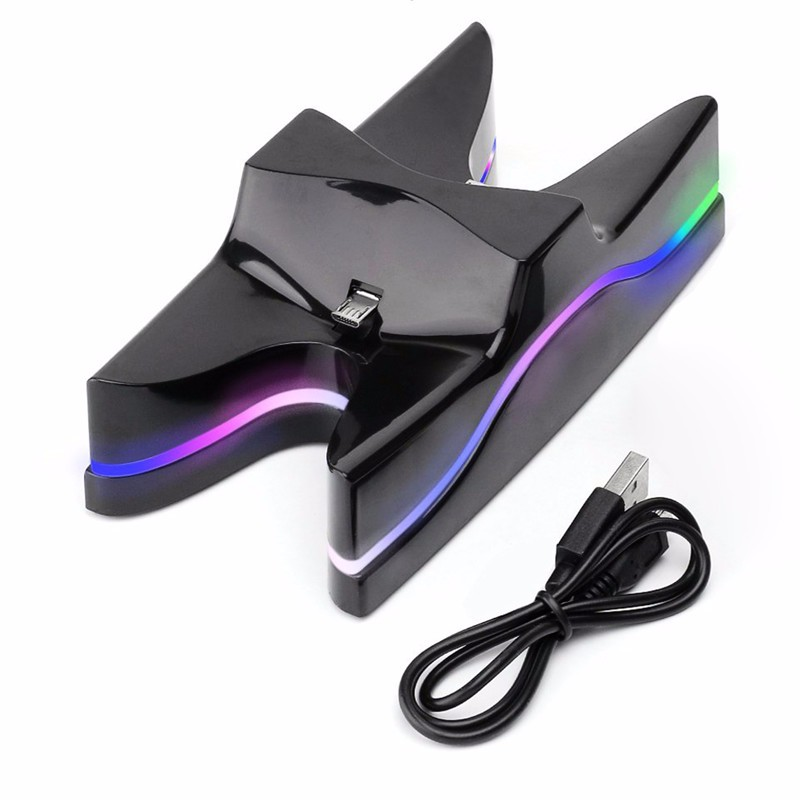 Colorful LED Dual Gaming Controller Charger Stand Fast Charging Dock Station for sony playstation 4 PS4 Console