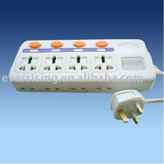 8-way 3-pin and 2-pin multifunction Power strip Electrical Extension outlet socket with neon