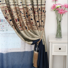 Mediterranean Style Printed Fabric Blackout Window Curtain