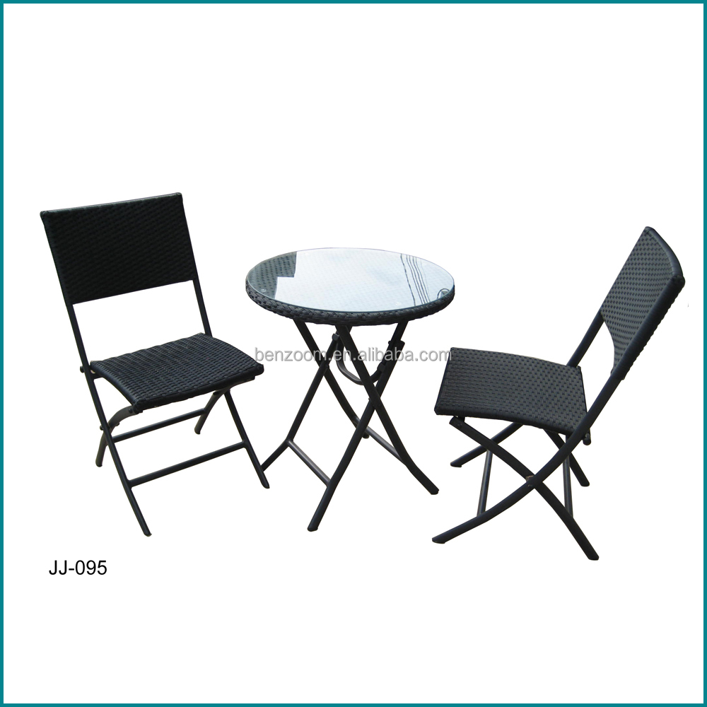 Leisure style cube rattan folding chair garden furniture set JJ-095TC