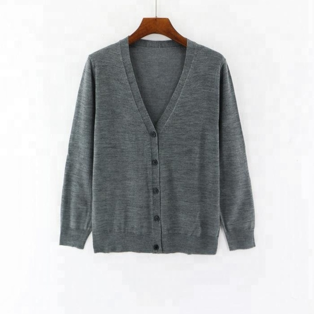 Front Open V neck Women Merino Wool Sweater Cardigan