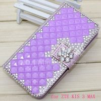 New arrival bling bling diamond case for ZTE Kis 3 Max,wallet case leather cover for ZTE Kis 3 Max