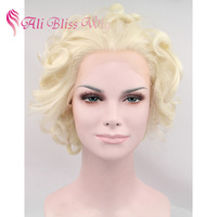 Wholesale Cheap Fashion Heat Resistant Fiber Hair Short Curly Blonde Marilyn Monroe Synthetic Lace Front Wigs for White Women